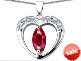 Original Star K™ Heart Pendant With Marquee Cut 8x4mm Created Ruby