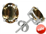 Original Star K™ Oval 8x6mm Genuine Smoky Quartz Earrings Studs style: 305715