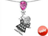 Original Star K™ Little Girl Holding a Balloon Mother Birthstone 9x7mm Pear Shape Created Pink Sapphire Pendant