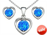 Original Star K™ Round Created Blue Opal Heart Pendant with Box Set matching earrings