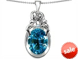 Original Star K™ Large Loving Mother Twin Family Pendant With Oval 11x9mm Simulated Blue Topaz