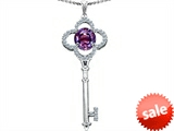 Original Star K™ Large Clover Shape Key To My Heart Pendant with Round 7mm Simulated Alexandrite style: 305740