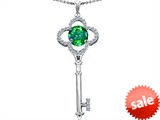 Original Star K™ Large Clover Shape Key To My Heart Pendant with Round 7mm Simulated Emerald