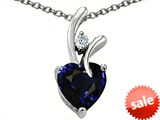 Original Star K™ Heart Shape 8mm Dark Blue Created Sapphire Pendant style: 305757