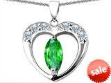Original Star K™ Heart Pendant With Marquee Cut Simulated Emerald
