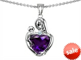 Original Star K™ Loving Mother With Child Hugging Pendant With Heart Shape Simulated Amethyst style: 305761