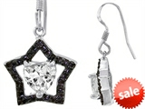 Original Star K™ Heart Shape Cubic Zirconia  Black Star Hanging Hook Earrings style: 305764