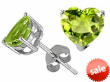 Tommaso Design™ Heart Shape Genuine Peridot Earrings Studs style: 305765