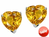 Tommaso Design™ Heart Shape Genuine Citrine Earrings Studs style: 305766