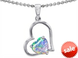 Original Star K™ 7mm Heart Shape Created Opal Pendant