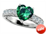 Original Star K™ 8mm Heart Shape Simulated Emerald Engagement Ring style: 305772