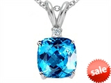 Tommaso Design™ 7mm Cushion Cut Genuine Blue Topaz Pendant