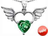 Original Star K™ Wings Of Love Birthstone Pendant with 8mm Heart Shape Simulated Emerald