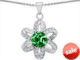 Original Star K™ Round 7mm Simulated Emerald Flower Pendant