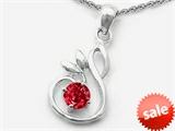 Original Star K™ Round Created Ruby Swan Pendant
