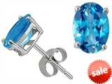 Tommaso Design™ Oval 7x5mm Genuine Blue Topaz Earring Studs