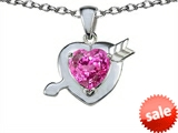Original Star K™ Heart with Arrow Love Pendant with Heart Shape 8mm Created Pink Sapphire style: 305784