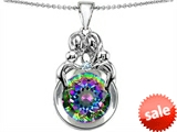 Original Star K™ Large Loving Mother And Family Pendant With Round 10mm Rainbow Mystic Topaz