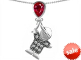 Original Star K™ Little Boy Holding a Balloon Mother Birthstone Created Ruby Pendant