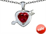 Original Star K™ Heart with Cupid`s Arrow Love Pendant with Created Ruby style: 305788