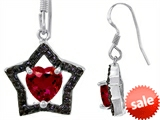Original Star K™ Heart Shape Created Ruby Black Star Hanging Hook Earrings