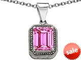 Original Star K™ Bali Style Emerald Cut 10x8mm Created Pink Sapphire Pendant
