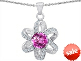 Original Star K™ Round 7mm Created Pink Sapphire Flower Pendant style: 305795