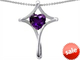 Original Star K™ Large Christian Cross Of Love Pendant With Heart 8mm Genuine Amethyst