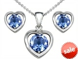 Original Star K™ Simulated Aquamarine Heart Earrings with Box Set matching Pendant