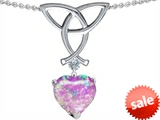 Celtic Love by Kelly Love Knot Pendant with 8mm Heart Shape Created Pink Opal