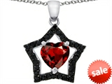 Original Star K™ Heart Shape Simulated Garnet Black Star Pendant