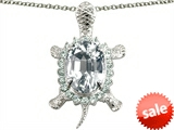 Original Star K™ Good Luck Turtle Pendant With Oval 12x10mm White Topaz