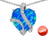 Original Star K™ Large 15mm Heart Shape Created Blue Opal Love Pendant