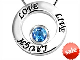 Original Star K™ Live/Love/Laugh Circle of Life Pendant with December Birthstone Round 7mm Simulated Blue Topaz style: 305827