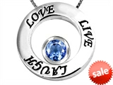 Original Star K™ Live/Love/Laugh Circle of Life Pendant with March Birthstone Round 7mm Simulated Aquamarine