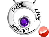 Original Star K™ Live/Love/Laugh Circle of Life Pendant with February Birthstone Round 7mm Simulated Amethyst style: 305829