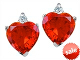 Original Star K™ Heart Shape Simulated Mexican Fire Opal Earrings