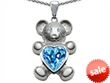 Original Star K™ Love Bear Holding Birthstone of December 8mm Heart Shape Genuine Blue Topaz style: 305845