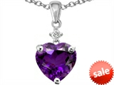 Original Star K™ Heart Shape 8mm Genuine Amethyst Pendant