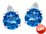 Original Star K™ Round 7mm Genuine Blue Topaz Earring Studs
