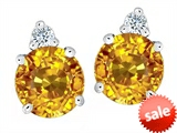 Original Star K™ Round 7mm Genuine Citrine Earrings Studs style: 305851