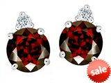 Original Star K™ Round 7mm Simulated Garnet Earring Studs