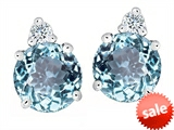 Original Star K™ Round 7mm Simulated Aquamarine Earring Studs