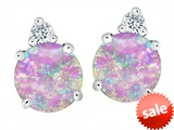 Original Star K™ Round 7mm Created Pink Opal Earrings Studs style: 305858