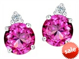 Original Star K™ Round 7mm Created Pink Sapphire Earrings Studs style: 305859