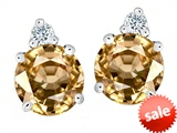Original Star K™ Round 7mm Simulated Imperial Yellow Topaz Earrings Studs style: 305866