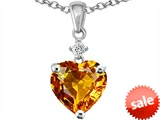 Original Star K™ Heart Shape 8mm Genuine Citrine Pendant