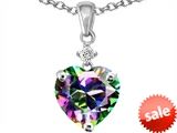 Original Star K™ Heart Shape 8mm Rainbow Mystic Topaz Pendant