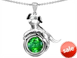 Original Star K™ Dog Lover Pendant with May Birthstone Round 7mm Simulated Emerald style: 305882