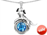 Original Star K™ Dog Lover Pendant with December Birth Month Round 7mm Simulated Blue Topaz style: 305884